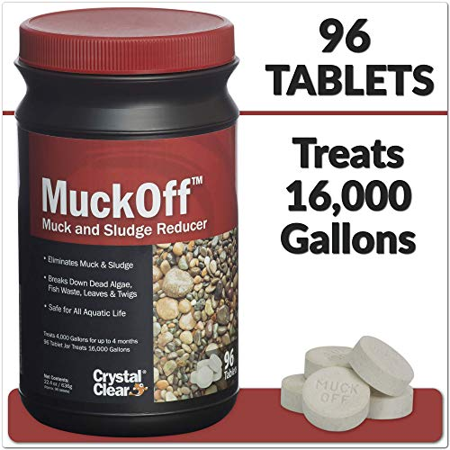 Crystal Clear MuckOff – Muck and Pond Sludge Reducer - 96 Tablets – Pond Muck Tablets Treat 4,000 Gallons for Up to 4 Months