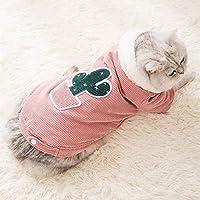 サボテン刺繍コーデュロイコートペットの猫と犬の服、クリスマス、イースター、ペット機器快適な生地のかわいいペットのスーツ服 (Color : Red, Size : XL)