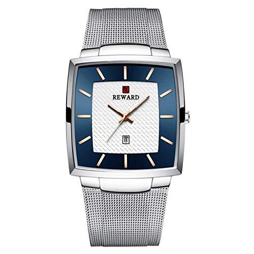 JCCOZ-URG Impermeable Lujo de la Marca de Reloj de Cuarzo Relojes de los Hombres de Oro del Acero Inoxidable de los Hombres de Negocios Fecha de Pulsera URG (Color : Silver Blue Box)