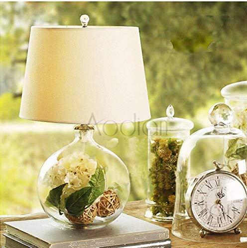 WEI-LUONG Lámparas de mesa, personalidad simple nórdica creativa moderna minimalista de la manera transparente de vidrio de mesa luces del dormitorio lámpara de cabecera, pantalla de tela luz de la no