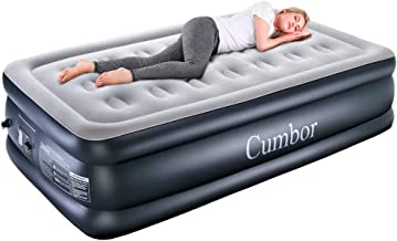 Cumbor Twin XL Air Mattress with Built-in Pump, Premium Elevated Inflatable Air Bed for Guest and Camping - Blow Up Double High Air Mattress Quilt Top, 80 x 40 x 18 inches , 2-Year Guarantee