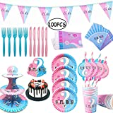 100 Pz Gender Reveal Party, Vajilla de Baby Shower, Gender Reveal Party Supplies, Platos, Tazas,...