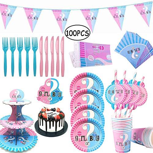 100 Pz Gender Reveal Party, Vajilla de Baby Shower, Gender Reveal Party Supplies, Platos, Tazas, Servilletas, Manteles, Pajitas, con Capacidad para 16 Personas(B)