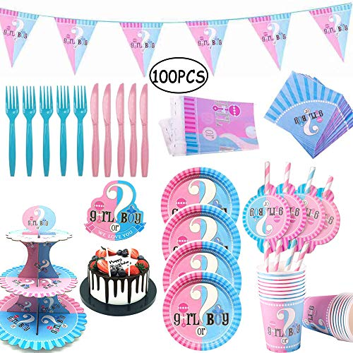 100 Pz Gender Reveal Party, Vajilla de Baby Shower, Gender Reveal Party Supplies, Platos, Tazas, Servilletas, Manteles, Pajitas, con Capacidad para 16 Personas