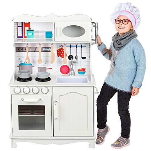 Kinderplay Cucina Legno Bambini - Grande Cucina per Bambini Legno Vintage Bianca Accessori per Cucina, Cucina Giocattolo per Bambini Gioco in Legno, GS0052