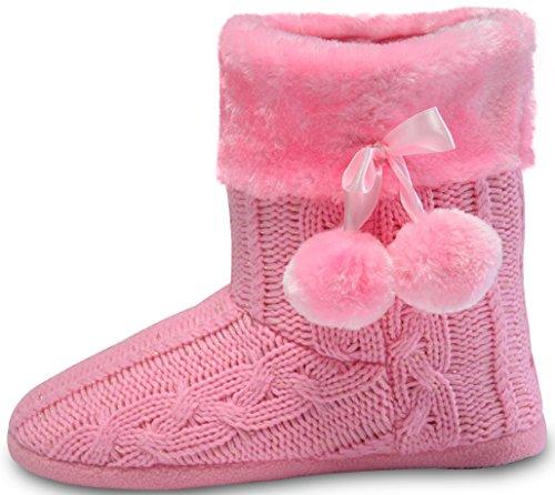 Hausschuhe Damen Pantoffeln Stiefel Schuhe mit weichen Pom Poms Slippers Airee Fairee, Gr. EU 38-39/Medium, Hellrosa