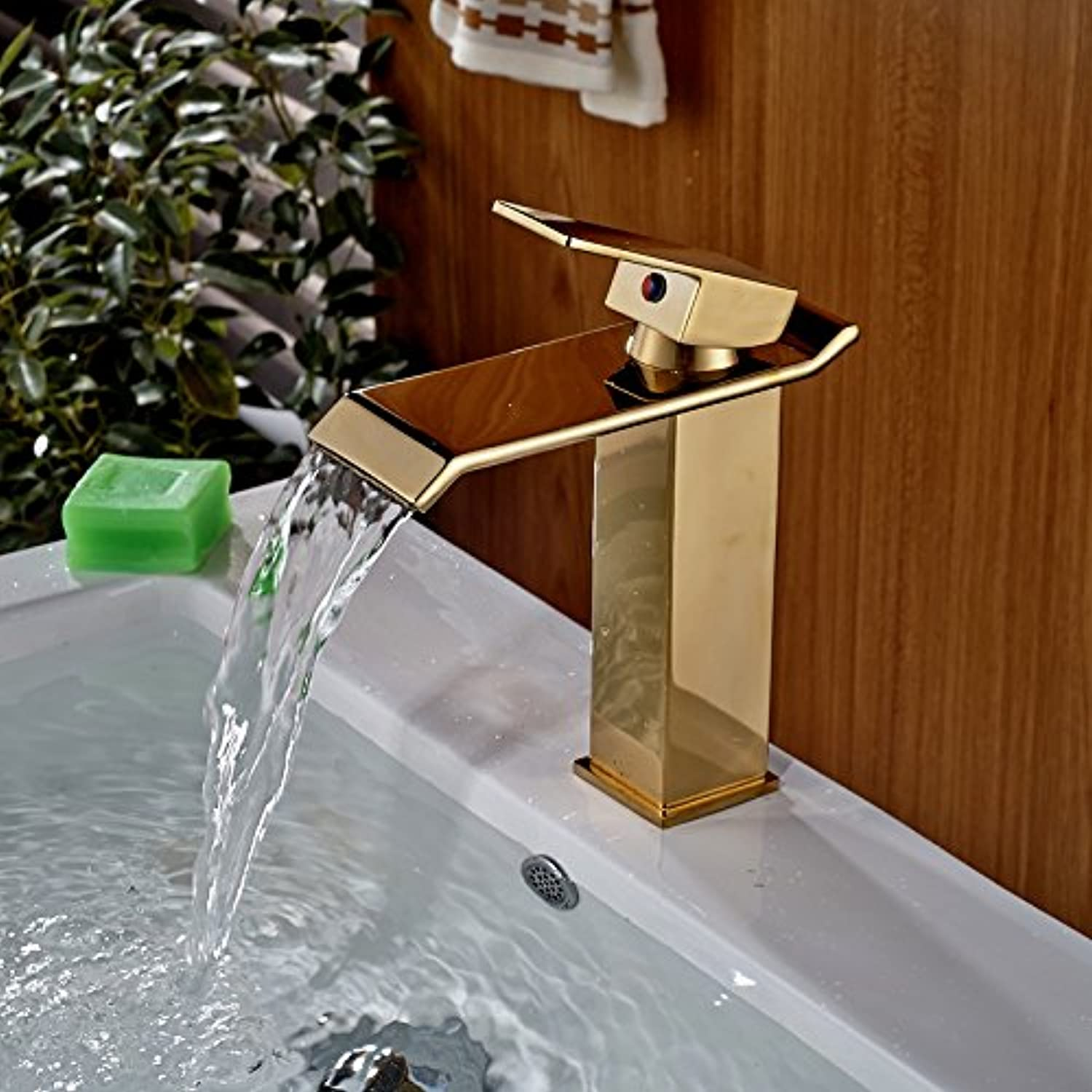 U-Enjoy Deck Mount golden Top Quality Waterfall Brass Bathroom Vanity Sink Faucet Single Lever Mixer Tap Hot Cold Water (Free Shipping)
