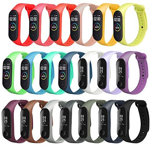 ivoler Kompatibel für Xiaomi Mi Band 3/4 Armband, 20er Set Silikon Ersatzbänder Wasserdicht Ersatz Uhrenarmbänder -20 Farben