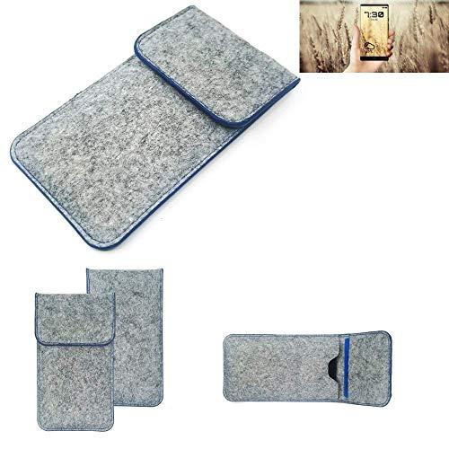 K-S-Trade Handy Schutz Hülle Für Allview X4 Soul Infinity N Schutzhülle Handyhülle Filztasche Pouch Tasche Hülle Sleeve Filzhülle Hellgrau, Blauer Rand