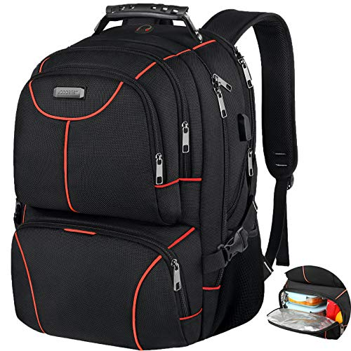 Lunch Bag Backpack, Insulated Cooler Lunch Box Backpack, Extra Large Travel 17.3 inch Laptop Backpack TSA Friendly RFID Durable Computer College School Bookbag with USB Port for Women Men,Orange