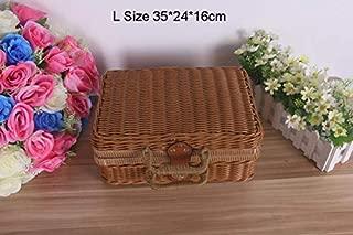 Vintage Rattan Handmade Weave Outdoor Travel Trunk Portable Storage Box Kung Fu Tea Set Picnic Suitcase Toy Basket Hand Bag BrownL