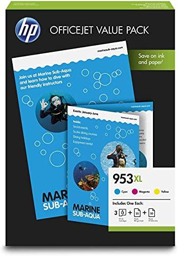 HP 953XL Value Pack 1CC21AE Confezione da 3 Cartucce Colore e 75 Fogli A4, Compatibile con Stampanti OfficeJet Pro Serie 8000 e 7740, Grandi Formati, Ciano, Giallo e Magenta