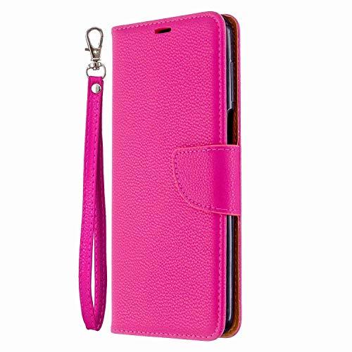 Funda para Samsung Galaxy A12, piel sintética, a prueba de golpes, con ranuras para tarjetas, cierre magnético, silicona suave, funda protectora para Samsung Galaxy A12, color rojo