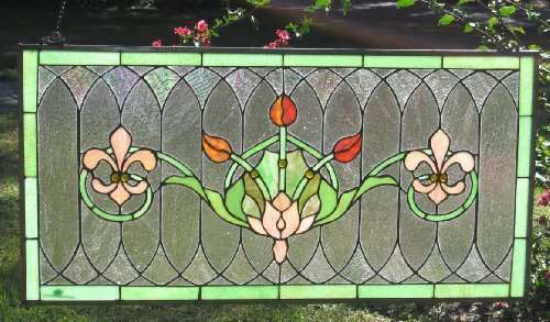 Tiffany Stained Glass Transom Window Panel Fleur De Lis 32' x 16'