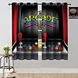 Arcade Games Blackout Curtains Arcade Machine Retro Game Fun Joystick Buttons Vintage 80s Electronics Thermal Insulated Curtains W55 xL40 Multi
