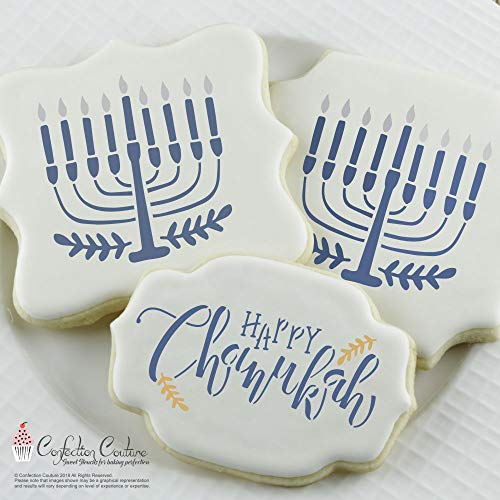Hanukkah Cookie Stencils -Food Grade Stencils for Cake and Cookie Decorating - Set of 3 Reusable Stencils