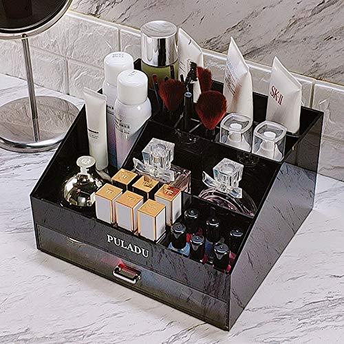 Slivy Acryl Aufsatz- Makeup Organizer mit Schublade mit hohen Kapazität Schmuck Kosmetikhalter 6 Lippenstift-Anzeigen-Speicher-Fall for Frisierkommode Desktop 12 Fächer, schwarz (Color : Black)