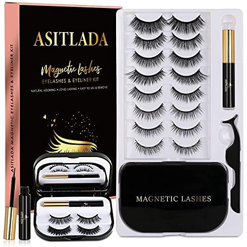 Magnetic Eyelashes-Magnetic Lashes - Magnetic Lashes With Eyeliner - 2 Tubes of Magnetic Eyeliner with Tweezers & Mirror Case - Reusable Natural(10Pairs)