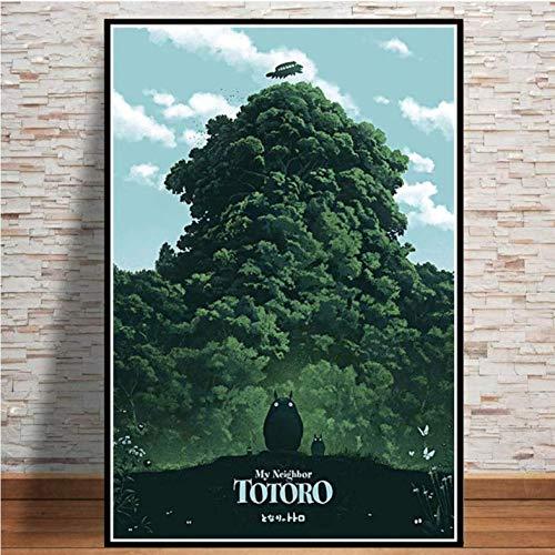 tgbhujk Poster und Drucke Studio Japan Anime Totoro Die Prinzessin Poster Wandkunst Bild Leinwand Malerei Room Home Decor 50 * 75 cm Ohne Rahmen