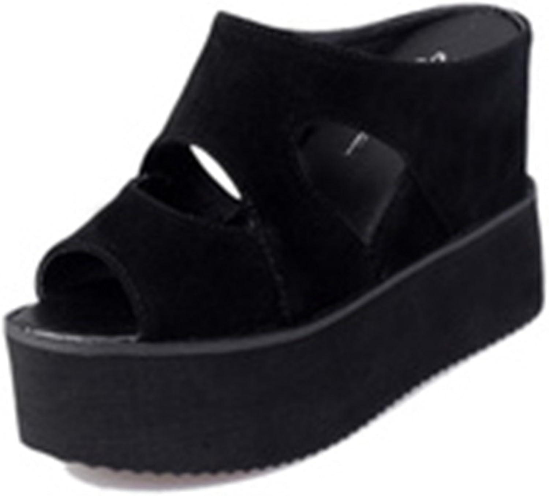 GIY Women's Peep-Toe Wedge Platform Slide Sandals Anti-Slip Thick High Heel Summer Beach Caged Sandals