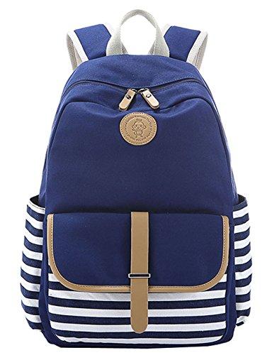 Greeniris Damen Schulrucksack Reisetasche Casual Daypacks Cityrucksack für Universität Outdoor Freizeit Blau