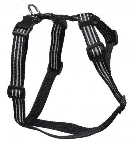 Feltmann Mopsgeschirr Hundegeschirr Soft Nylon, Reflektierend, Schwarz, 5-9kg, 15mm