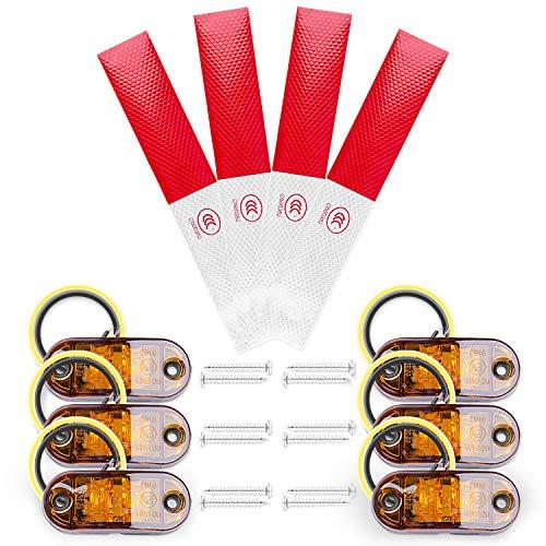 MICGEEK 6 Stücke Seitenmarkierungsleuchten 12v LED, Hohe Helligkeit Markierungsleuchten Seitenleuchten Orange Begrenzungsleuchten