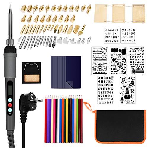 TIMLand Brandmalerei Lötkolben Set 94Pcs, Lötkolben der LCD-Digitalanzeige, 60W Einstellbare Temperatur(180-500°C) mit 53 Tipps,Brennstift Werkzeug für Holz Leder Gravieren Einbrennen.