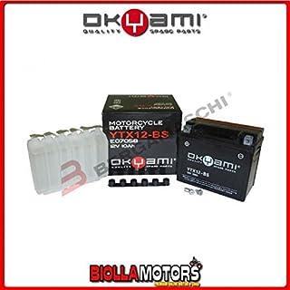 OKYAMI E07058- Batería YTX12-BS sellada con ácido para moto, scooter, Quad Cross