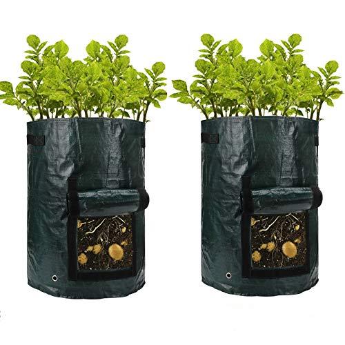 2 x Bolsa Grande para Cultivo,35 x 47cm Trapo PE, Recipiente para Cultivo de Plantas Patatas, jardinería, Verduras, Espesa, Duradera. cultiva Tus propias Verduras