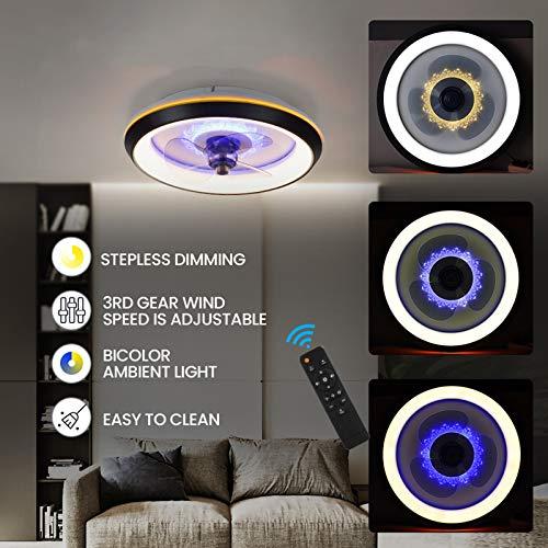 LED Deckenventilator Mit Lampe Moderne Invisible Fan Deckenleuchte Ultra-Leise Deckenventilator Mit Beleuchtung Esszimmer Schlafzimmer Wohnzimmer LED Dimmbar Deckenlampe Mit Fernbedienung