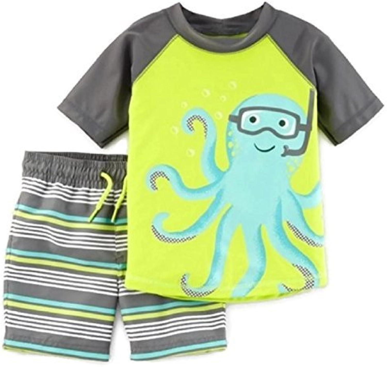 Toddler Boys Octopus Swim Trunks and Rash Guard Set UPF 50+ Sun Predection (12M)