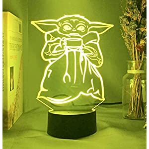 Star Wars Baby Yoda Kids Night Lights with 7 Colors Night Lights Changing Birthday Gifts for Boys Girls Bedroom Decor for Star Wars Fan