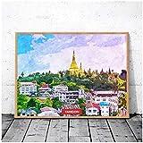 wzgsffs Abstrakte Retro Yangon Myanmar Stadt Skyline