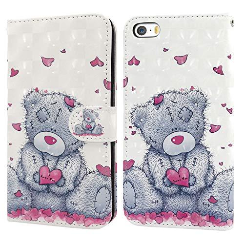 Ailisi iPhone 5 5S SE Hülle Teddy Bear 3D Muster Handyhülle Schutzhülle PU Leder Wallet Case Flip Case Klapphüllen Brieftasche Ledertasche Tasche Etui im Bookstyle