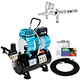 Master Airbrush Cool Runner II Dual Fan Air Storage Tank Compressor System Kit with a G44 Fine Detail Control Gravity Feed Dual-Action Airbrush Set with 0.2 mm Tip - Hose, Holder, How-To Guide - Hobby