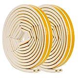 Sumind 2 Rollos Forma de D 9 x7,5 mm de Burlete de Insonorización de Goma Adhesivo Espuma Tira Selladora Adhesiva de Ventana Burlete de Cinta EPDM, 10 m en Total