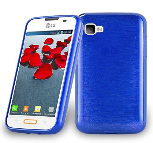 Cadorabo Funda para LG L4 II (2.Gen E740) en Azul - Cubierta Proteccíon de Silicona TPU Delgada e Flexible con Antichoque - Gel Case Cover Carcasa Ligera