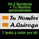 Vinilin - Pegatina Vinilo Bandera Cataluña + tu Nombre - Bici, Casco, Pala De Padel, Monopatin, Coche, etc. Kit de Dos Vinilos (Negro)
