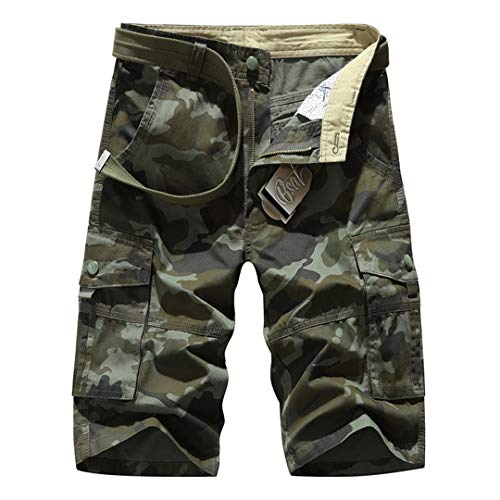Teinaongsy Herren Camouflage Overalls Shorts Baumwollmuster Straight Cargo Shorts Army Green 35