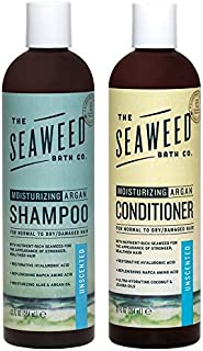 Seaweed Bath Company Unscented All Natural Organic Shampoo and Conditioner Bundle With Organic Bladderwrack Seaweed, Aloe Vera, Argan Oil and Vitamin E, 12 fl. oz. each