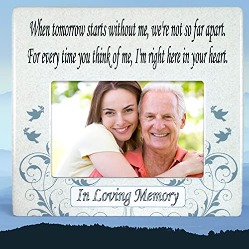 BANBERRY DESIGNS When Tomorrow Starts Without Me Ceramic Memorial Picture Frame - Beautiful Tribute to the Loss of a Loved One -- Traditional Design Goes with Any Decor -- Great As a Keepsake Plaque