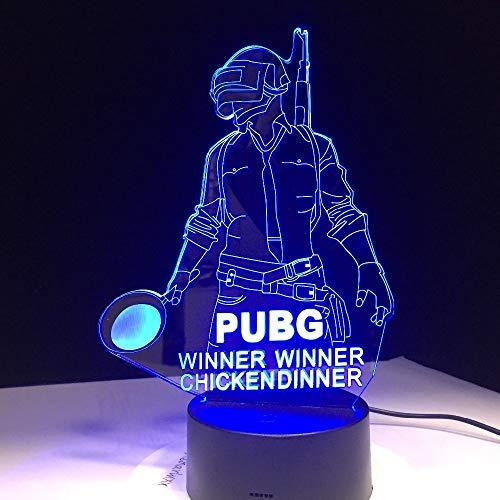 Coole Welt FPS-Spiel Spieler unbekannt Schlachtfelder 3D Tischlampe Kids Toy Geschenk rr Chicken Dinner LED Lampe