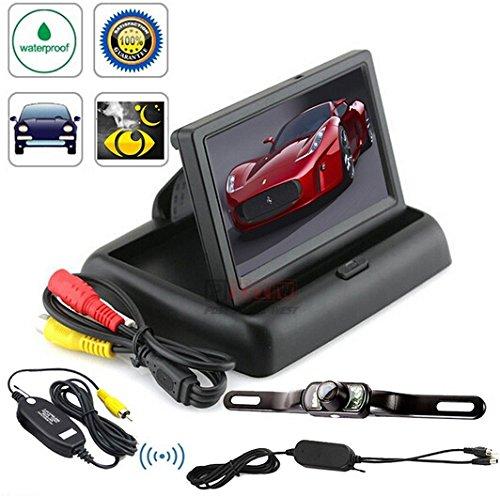 BW® 10,9 cm pliable couleur vue arrière pour voiture + voiture vue arrière Système sans fil étanche Grand Angle caméra