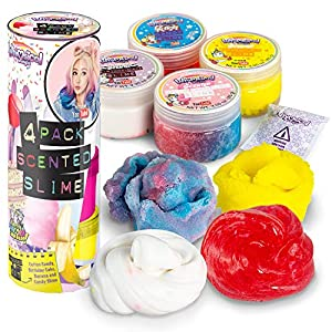 Wengie Whimsical Scented Slime Kit w/ Mystery Unicorn Charm – 4 Pack Glossy Fluffy Puffy Cloud Fruity Slime for Girls…