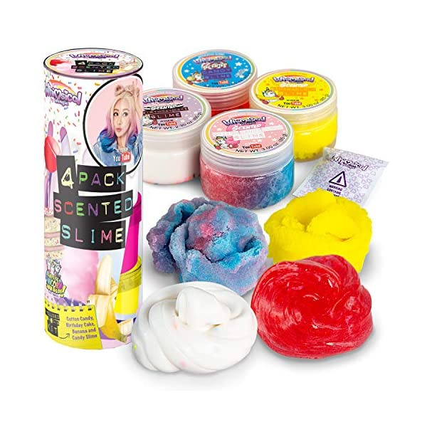 Wengie Whimsical Scented Slime Kit w/ Mystery Unicorn Charm - 4 Pack Glossy Fluffy Puffy Cloud Fruity Slime for Girls… 3