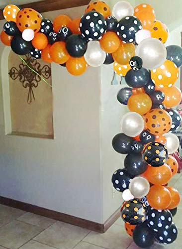 Kubert Halloween Balloon Arch Garland Kit Black Silver Orange Black dot Latex Balloons with Black Orange Polka Dots Balloons for Halloween Party Decorations