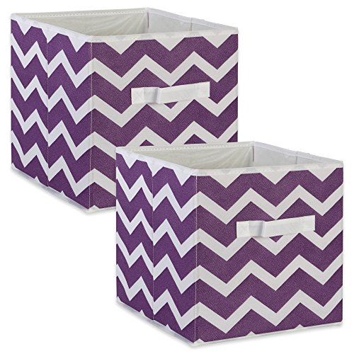 DII Foldable Fabric Storage Bins for Nursery, Offices, Home, Containers are Made to Fit Standard Cube Organizers, Small-11 x 11 x 11, Chevron Eggplant