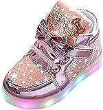 Doublehero Babyschuhe 1-6 Jahre Unisex Baby Junge Mädchen Art und Weisesnowers Stern Kinder zufällige Bunte helle Schuhe mit Licht LED Leuchtende Blinkende Turnschuhe (27/EU:26, Rosa)