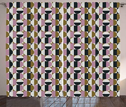 ABAKUHAUS Retro Rustikaler Gardine, Bauhaus geometrisches Muster, Schlafzimmer Kräuselband Vorhang mit Schlaufen und Haken, 280 x 225 cm, Mehrfarbig